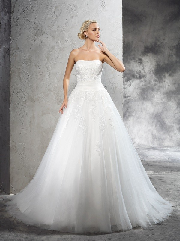 Court Train Ball Gown Strapless Sleeveless Applique Satin Wedding Dresses