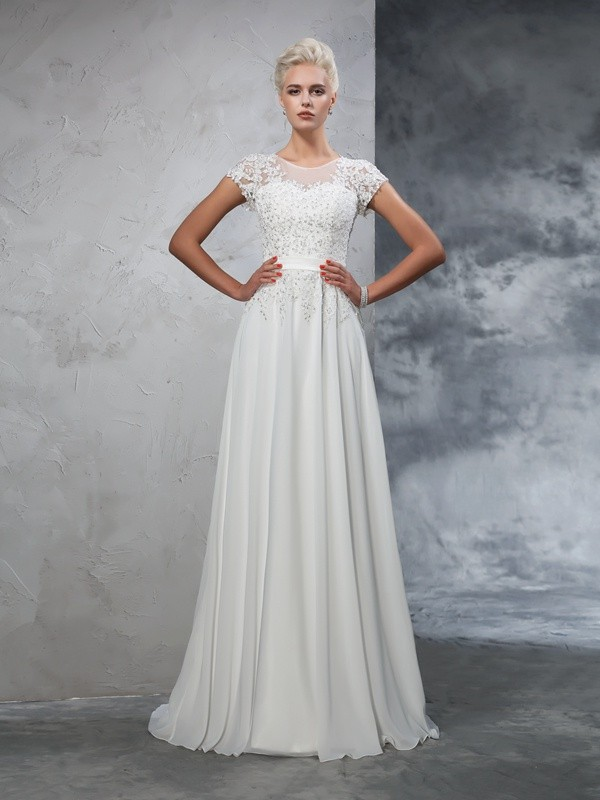 Sweep/Brush Train A-Line/Princess Sheer Neck Short Sleeves Applique Chiffon Wedding Dresses