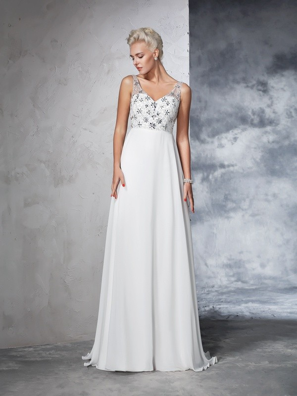 Sweep/Brush Train A-Line/Princess V-neck Sleeveless Beading Chiffon Wedding Dresses