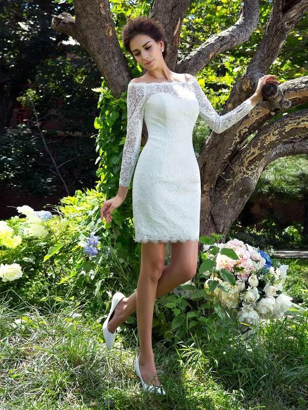 Short/Mini Sheath/Column Scoop Long Sleeves Other Satin Wedding Dresses