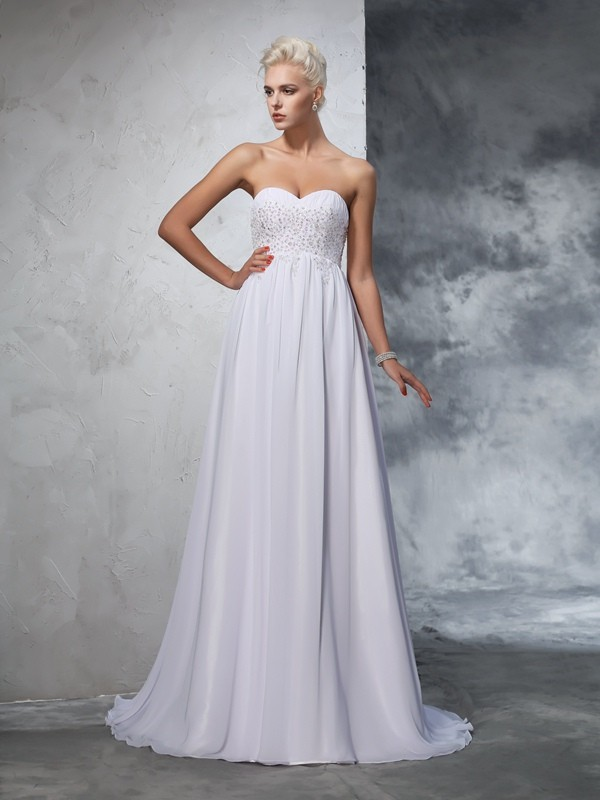 Sweep/Brush Train A-Line/Princess Sweetheart Sleeveless Beading Chiffon Wedding Dresses