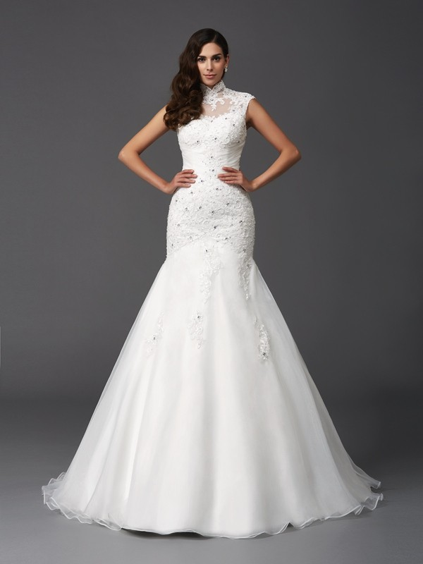Sweep/Brush Train Trumpet/Mermaid High Neck Sleeveless Beading Organza Wedding Dresses