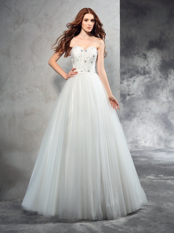 Floor-Length A-Line/Princess Sweetheart Sleeveless Beading Net Wedding Dresses