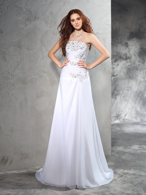 Sweep/Brush Train Sheath/Column Strapless Sleeveless Beading Chiffon Wedding Dresses