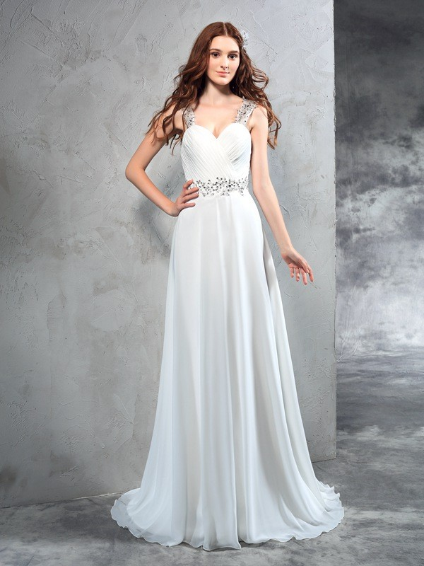 Sweep/Brush Train A-Line/Princess Sweetheart Sleeveless Pleats Chiffon Wedding Dresses