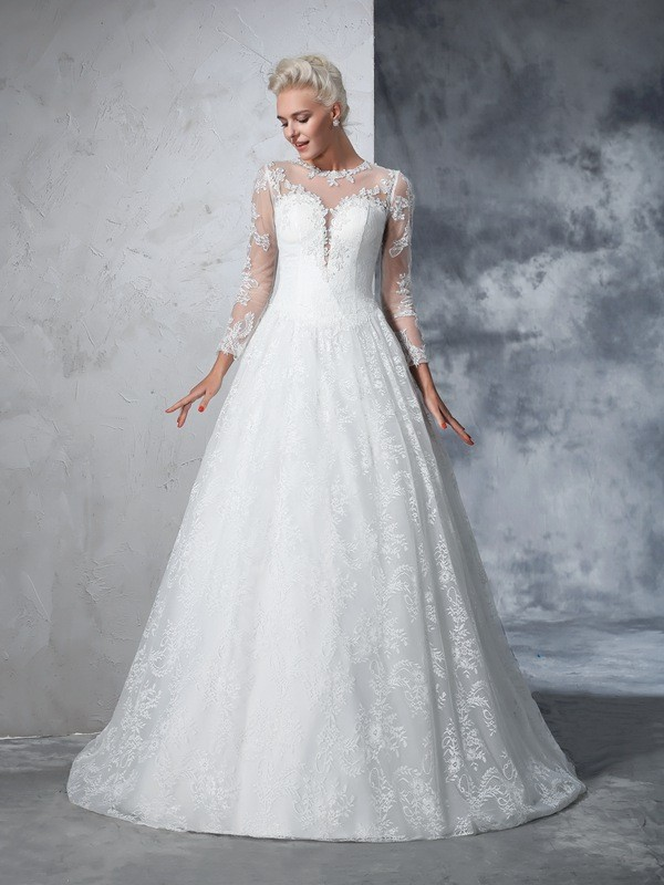 Court Train Ball Gown Jewel Long Sleeves Lace Wedding Dresses