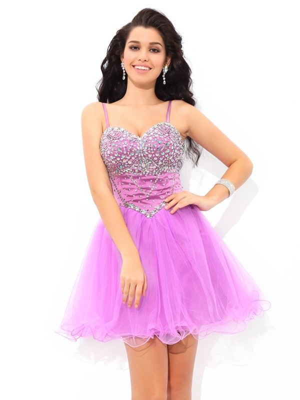 Short/Mini A-Line/Princess Spaghetti Straps Sleeveless Paillette Net Dresses