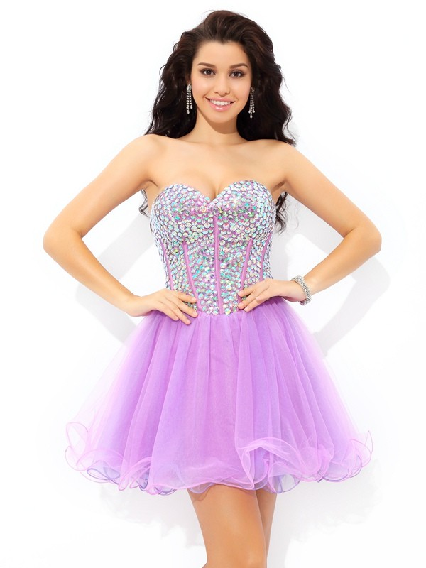 Short/Mini A-Line/Princess Sweetheart Sleeveless Paillette Net Dresses