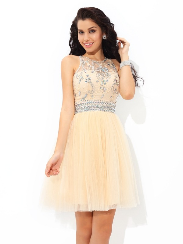 Short/Mini A-Line/Princess Sheer Neck Sleeveless Beading Net Dresses