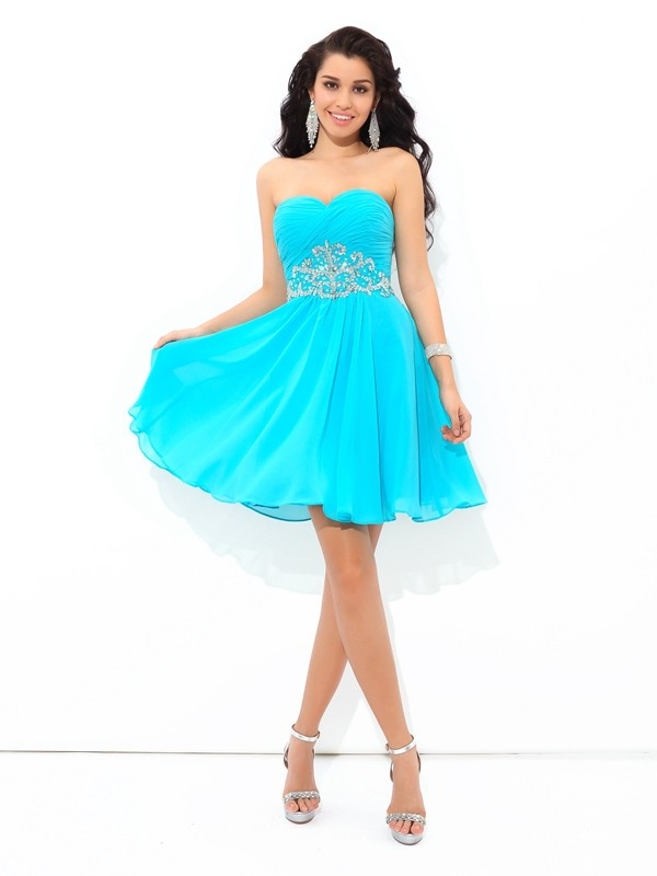 Short/Mini A-Line/Princess Sweetheart Sleeveless Pleats Chiffon Dresses