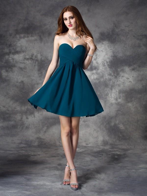 Short/Mini A-Line/Princess Sweetheart Sleeveless Ruffles Chiffon Dresses
