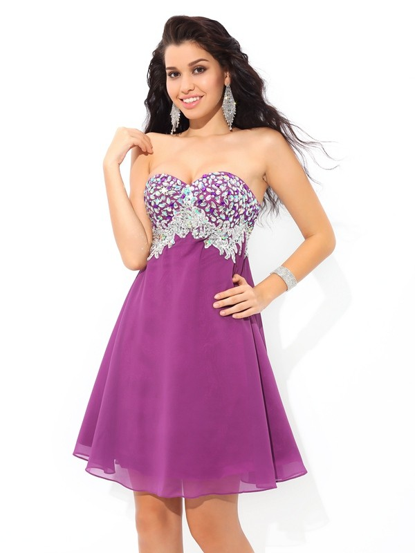 Short/Mini A-Line/Princess Sweetheart Sleeveless Rhinestone Chiffon Dresses