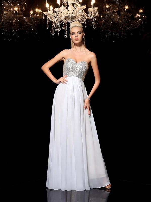 Floor-Length A-Line/Princess Sweetheart Sleeveless Sequin Chiffon Dresses
