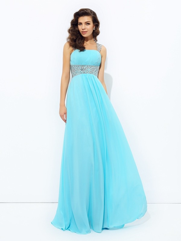 Floor-Length A-Line/Princess Straps Sleeveless Sequin Chiffon Dresses