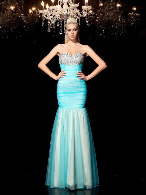 Floor-Length Sheath/Column Sweetheart Sleeveless Sequin Net Dresses