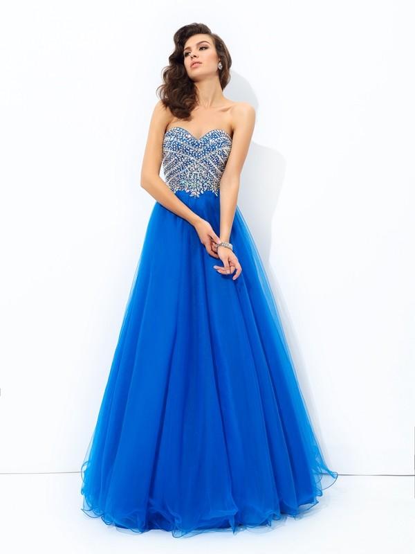 Floor-Length A-Line/Princess Sweetheart Sleeveless Sequin Net Dresses