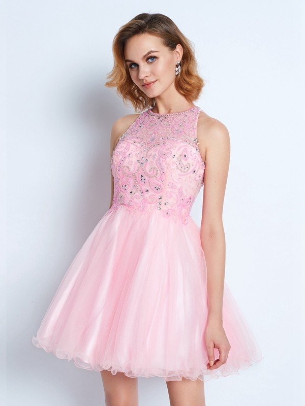 Short/Mini A-Line/Princess Jewel Sleeveless Ruffles Net Dresses