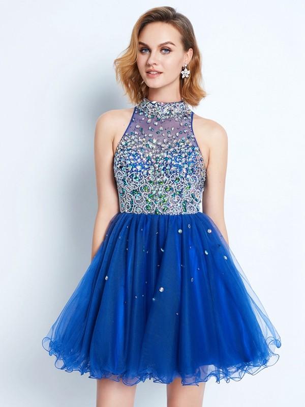 Short/Mini A-Line/Princess High Neck Sleeveless Ruffles Net Dresses