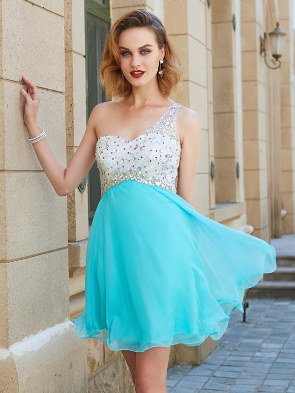 Short/Mini A-Line/Princess One-Shoulder Sleeveless Beading Chiffon Dresses