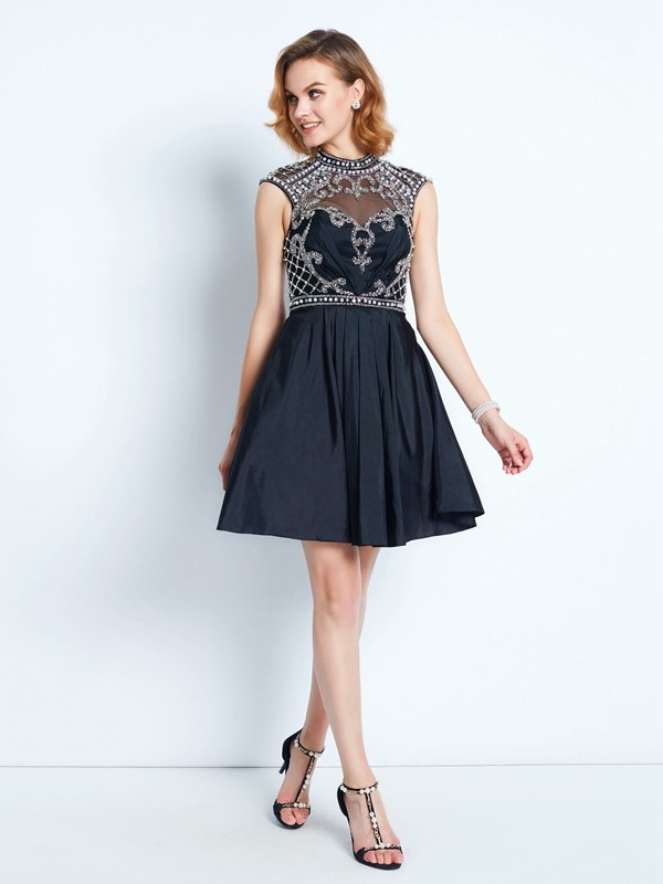 Short/Mini A-Line/Princess High Neck Sleeveless Beading Satin Dresses