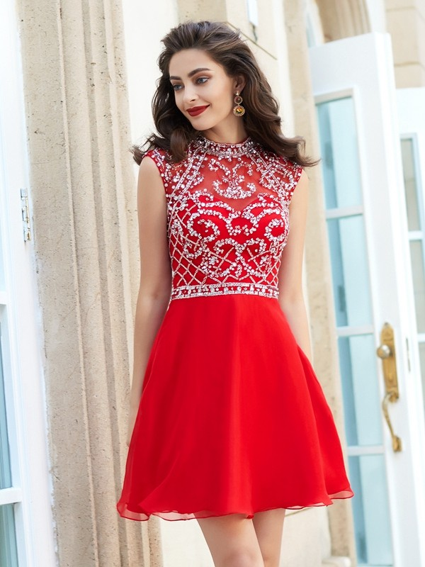 Short/Mini A-Line/Princess High Neck Sleeveless Beading Chiffon Dresses
