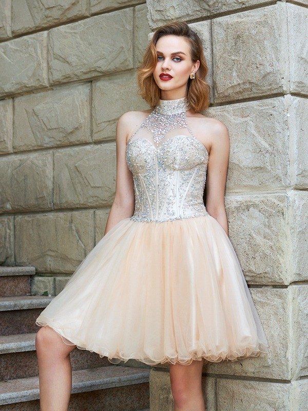 Short/Mini A-Line/Princess Halter Sleeveless Beading Net Dresses