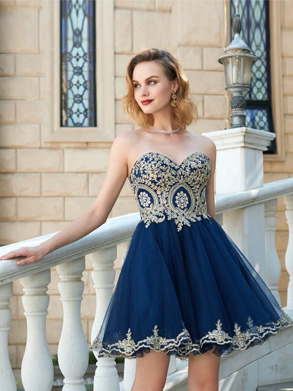 b896f242ede Short Mini A-Line Princess Sweetheart Sleeveless Applique Net Dresses