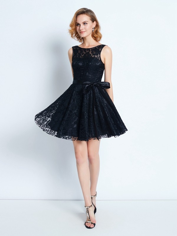 Short/Mini A-Line/Princess Scoop Sleeveless Sash/Ribbon/Belt Lace Dresses
