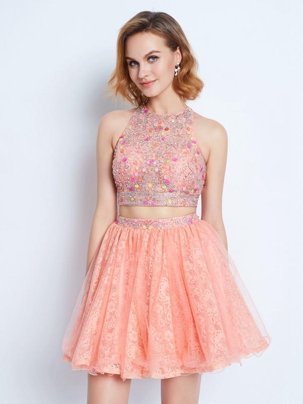 Short/Mini A-Line/Princess Jewel Sleeveless Lace Lace Dresses