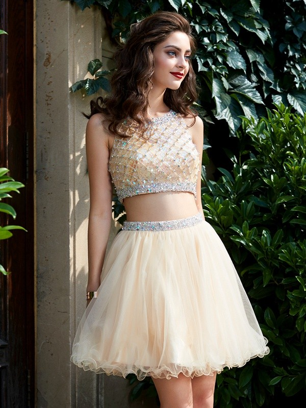 Short/Mini A-Line/Princess Scoop Sleeveless Beading Net Dresses