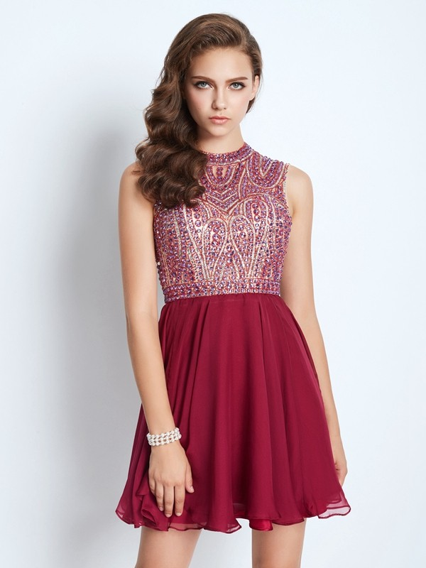 Short/Mini A-Line/Princess Jewel Sleeveless Beading Chiffon Dresses