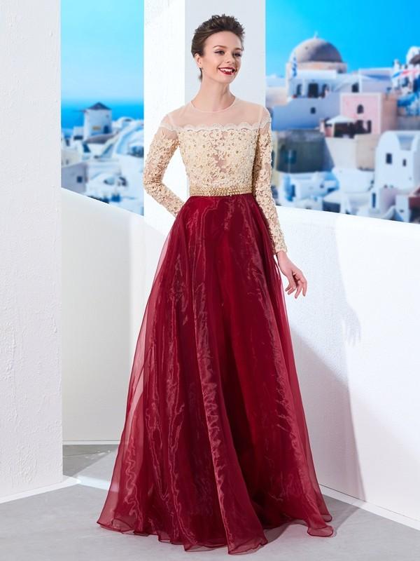 Floor-Length A-Line/Princess Sheer Neck Long Sleeves Applique Organza Dresses