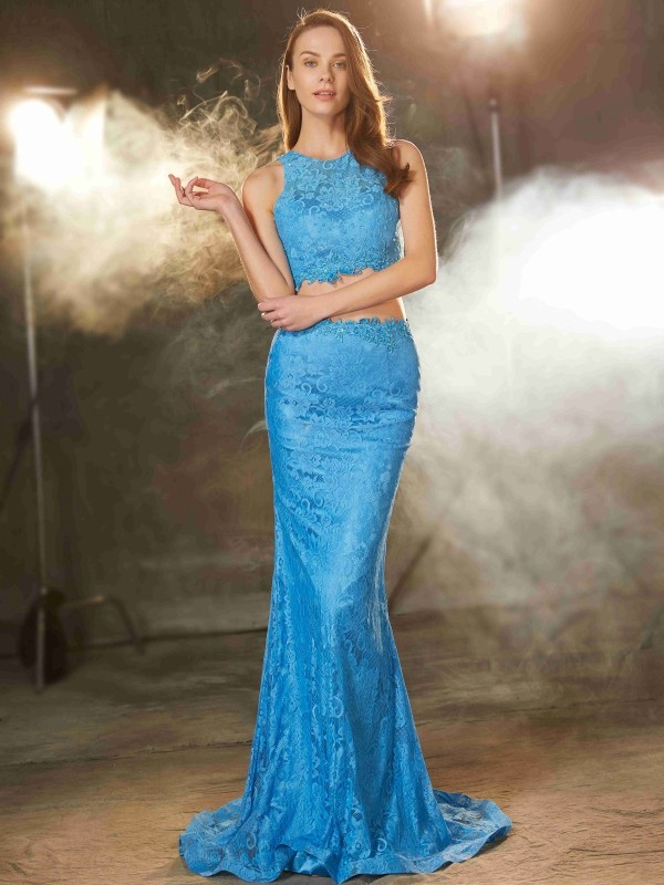 Sweep/Brush Train Sheath/Column Scoop Sleeveless Lace Lace Dresses