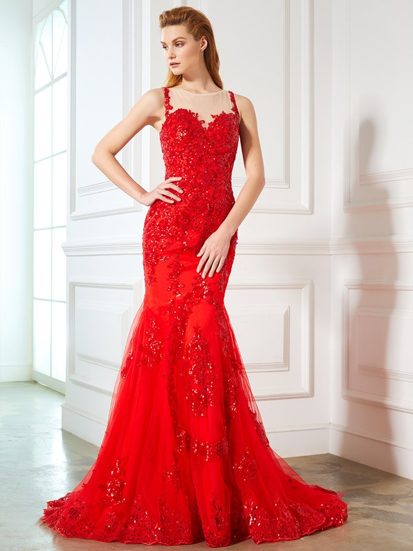Sweep/Brush Train Trumpet/Mermaid Sheer Neck Sleeveless Applique Tulle Dresses
