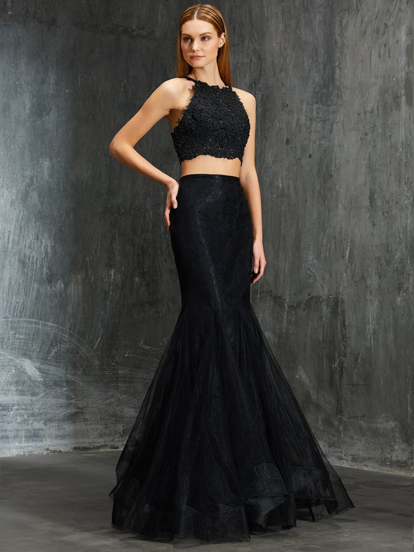 Floor-Length Trumpet/Mermaid Spaghetti Straps Sleeveless Applique Net Dresses