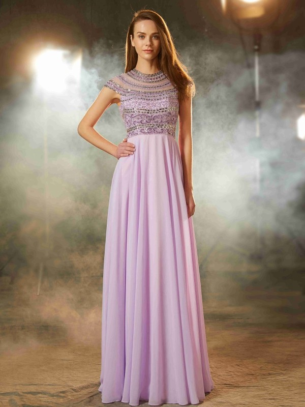 Floor-Length A-Line/Princess Scoop Short Sleeves Beading Chiffon Dresses