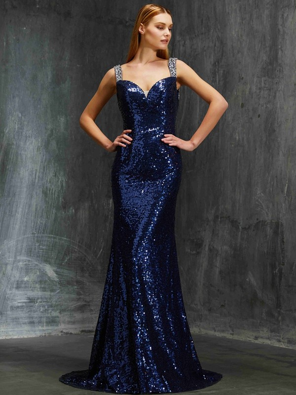 Sweep/Brush Train Sheath/Column V-neck Sleeveless Beading Sequins Dresses