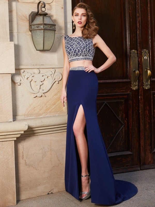 Sweep/Brush Train Sheath/Column Bateau Sleeveless Beading Elastic Woven Satin Dresses
