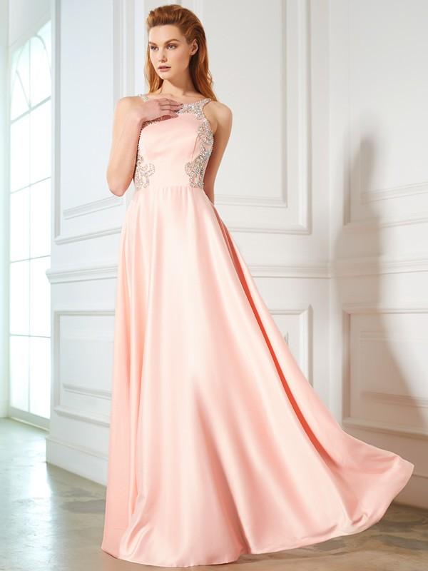 Floor-Length A-Line/Princess Scoop Sleeveless Beading Satin Dresses