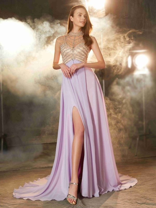 Sweep/Brush Train A-Line/Princess High Neck Sleeveless Crystal Chiffon Dresses