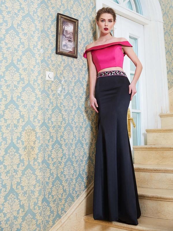 Floor-Length Trumpet/Mermaid Off-the-Shoulder Sleeveless Beading Satin Dresses