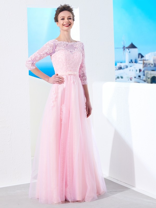 Floor-Length A-Line/Princess Bateau 1/2 Sleeves Applique Tulle Dresses