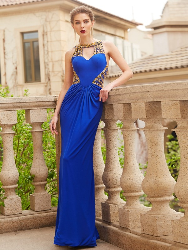 Floor-Length Sheath/Column Scoop Sleeveless Beading Spandex Dresses