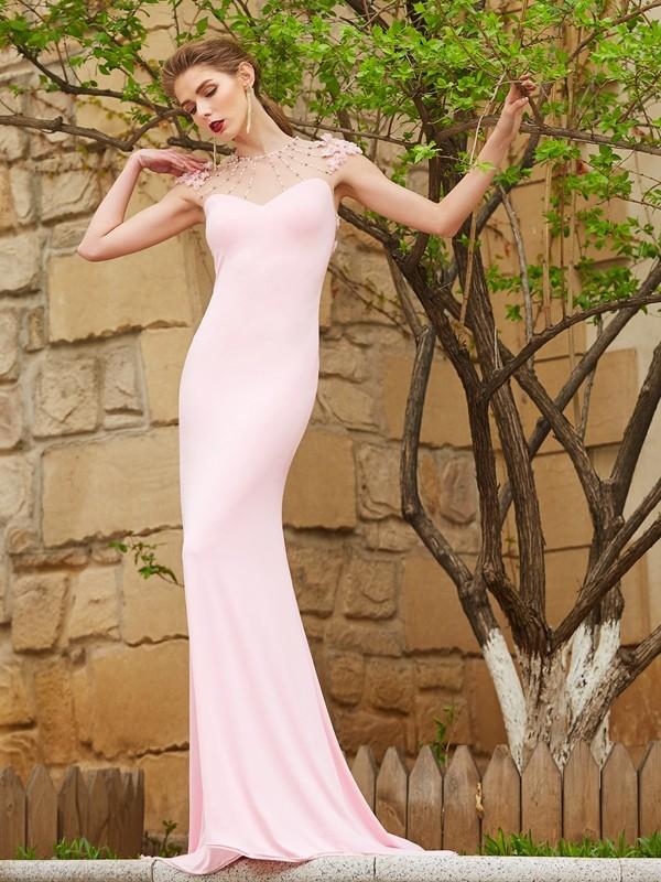 2da7f3d3b2d0 Sweep/Brush Train Trumpet/Mermaid Jewel Short Sleeves Beading Spandex  Dresses