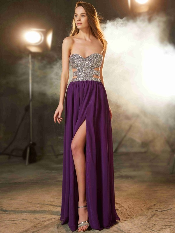 Floor-Length A-Line/Princess Sweetheart Sleeveless Crystal Chiffon Dresses