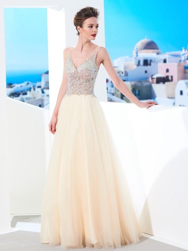 Floor-Length Ball Gown V-neck Sleeveless Beading Tulle Dresses