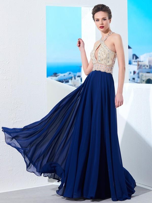 Floor-Length A-Line/Princess Straps Sleeveless Beading Chiffon Dresses
