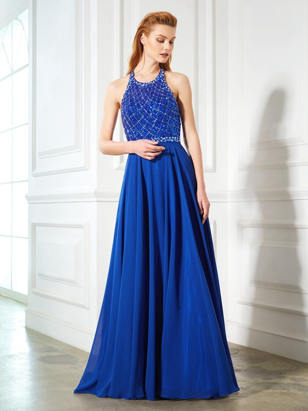 Sweep/Brush Train A-Line/Princess Jewel Sleeveless Beading Chiffon Dresses