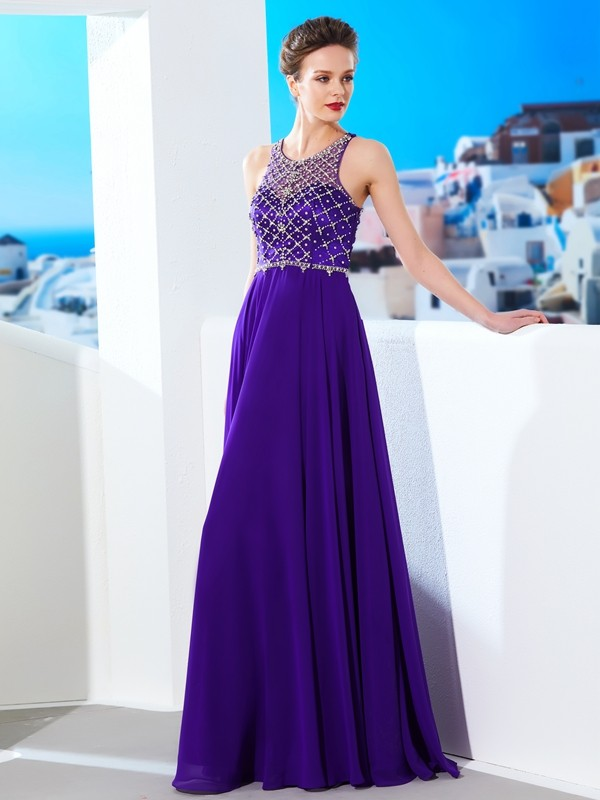 Floor-Length A-Line/Princess Scoop Sleeveless Crystal Chiffon Dresses