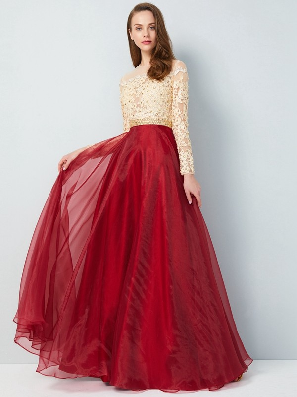Floor-Length A-Line/Princess Sheer Neck Long Sleeves Applique Organza Dresses